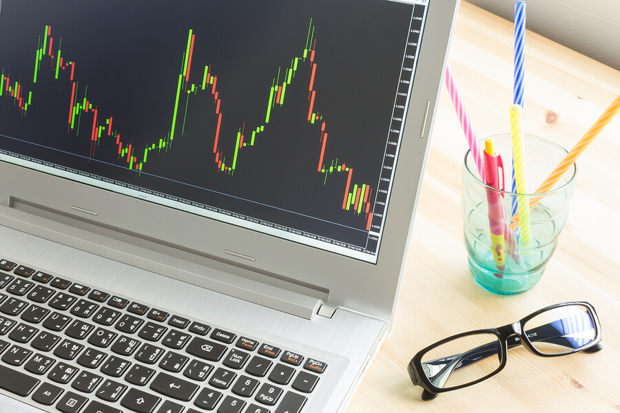 Bigstock stock or forex graph in laptop